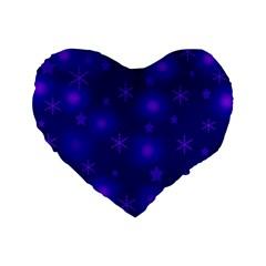 Blue Xmas design Standard 16  Premium Flano Heart Shape Cushions
