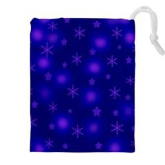 Blue Xmas design Drawstring Pouches (XXL)
