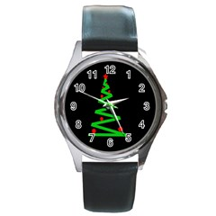 Simple Xmas tree Round Metal Watch