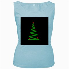 Simple Xmas tree Women s Baby Blue Tank Top