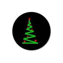 Simple Xmas Tree Magnet 3  (round)