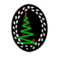 Simple Xmas tree Oval Filigree Ornament (2-Side)