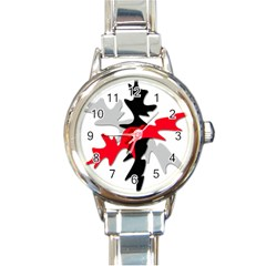 Gray, red and black shape Round Italian Charm Watch