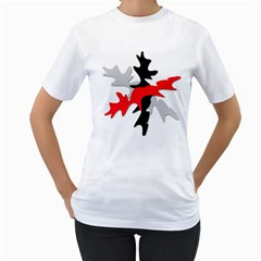 Gray, red and black shape Women s T-Shirt (White) (Two Sided)