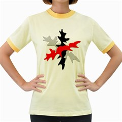 Gray, red and black shape Women s Fitted Ringer T-Shirts