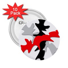 Gray, red and black shape 2.25  Buttons (10 pack)