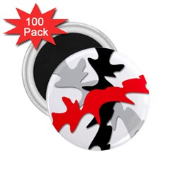 Gray, red and black shape 2.25  Magnets (100 pack)
