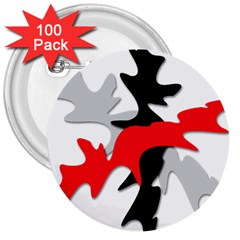 Gray, red and black shape 3  Buttons (100 pack)