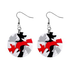 Gray, red and black shape Mini Button Earrings
