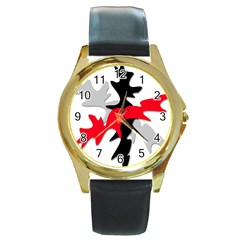 Gray, red and black shape Round Gold Metal Watch