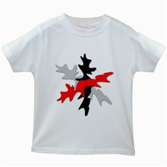 Gray, red and black shape Kids White T-Shirts