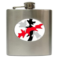 Gray, red and black shape Hip Flask (6 oz)
