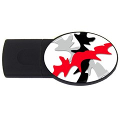 Gray, red and black shape USB Flash Drive Oval (2 GB)
