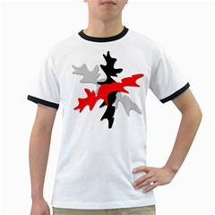 Gray, red and black shape Ringer T-Shirts