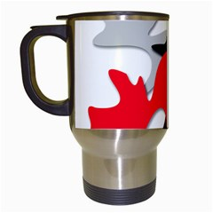 Gray, red and black shape Travel Mugs (White)