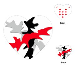 Gray, red and black shape Playing Cards (Heart)
