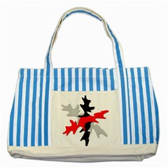 Gray, red and black shape Striped Blue Tote Bag