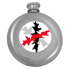 Gray, red and black shape Round Hip Flask (5 oz)
