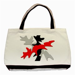 Gray, red and black shape Basic Tote Bag (Two Sides)