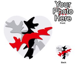 Gray, red and black shape Multi-purpose Cards (Heart)