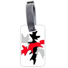 Gray, red and black shape Luggage Tags (One Side)