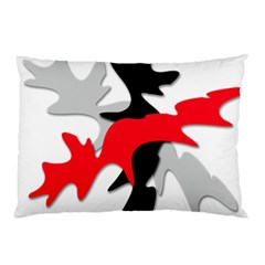 Gray, red and black shape Pillow Case (Two Sides)