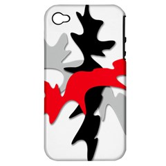Gray, red and black shape Apple iPhone 4/4S Hardshell Case (PC+Silicone)