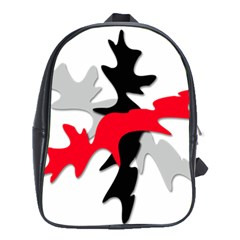Gray, red and black shape School Bags (XL)