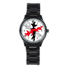 Gray, Red And Black Shape Stainless Steel Round Watch