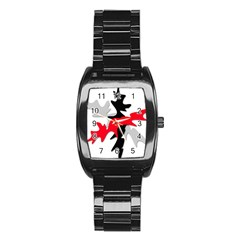 Gray, red and black shape Stainless Steel Barrel Watch