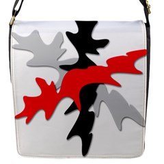 Gray, red and black shape Flap Messenger Bag (S)