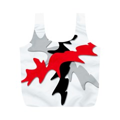 Gray, red and black shape Full Print Recycle Bags (M)