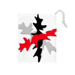 Gray, red and black shape Drawstring Pouches (Medium)