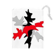 Gray, red and black shape Drawstring Pouches (Large)