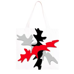 Gray, red and black shape Grocery Light Tote Bag