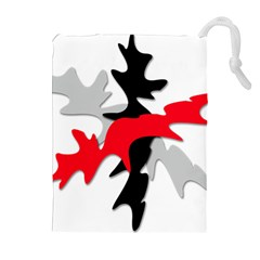 Gray, red and black shape Drawstring Pouches (Extra Large)