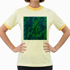 Green and blue design Women s Fitted Ringer T-Shirts