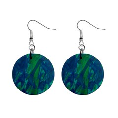 Green and blue design Mini Button Earrings