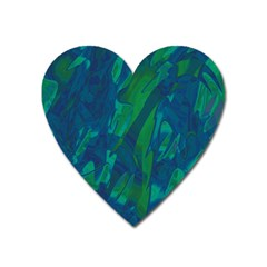 Green and blue design Heart Magnet