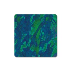 Green and blue design Square Magnet