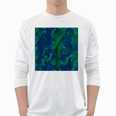 Green and blue design White Long Sleeve T-Shirts