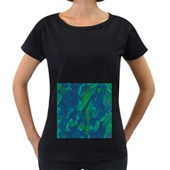 Green and blue design Women s Loose-Fit T-Shirt (Black)