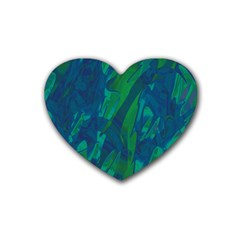 Green and blue design Rubber Coaster (Heart)