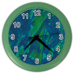 Green and blue design Color Wall Clocks
