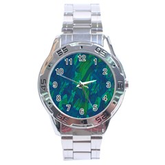Green and blue design Stainless Steel Analogue Watch