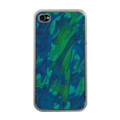 Green and blue design Apple iPhone 4 Case (Clear)