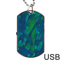 Green and blue design Dog Tag USB Flash (One Side)