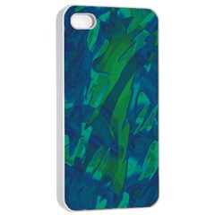 Green and blue design Apple iPhone 4/4s Seamless Case (White)