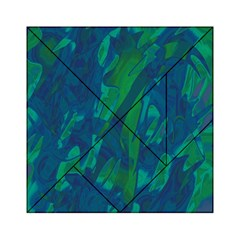 Green and blue design Acrylic Tangram Puzzle (6  x 6 )