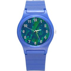 Green and blue design Round Plastic Sport Watch (S)